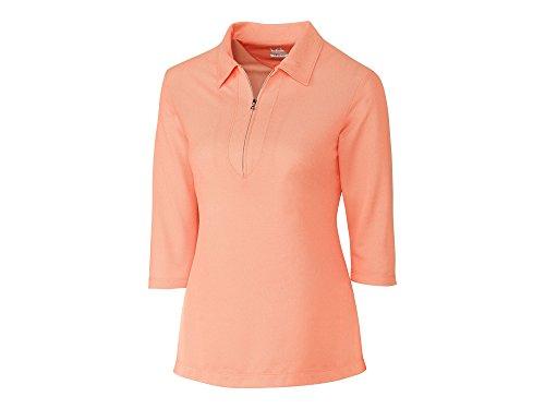 3/4 Sleeve Oxford Shirt (Cutter & Buck LCK08643 Women's Blaine Oxford 3/4 Sleeve Zip Polo Orange Burst/White Small)