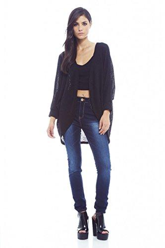AX Paris Women's Fine Plainknitted Short Black Cardigan(Black, Size:S/M) by AxParis (Image #3)