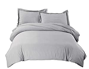 Bedsure Grey Duvet Cover Set with Zipper Closure, Washed Process Microfiber - Ultra Soft Full/Queen Size(90