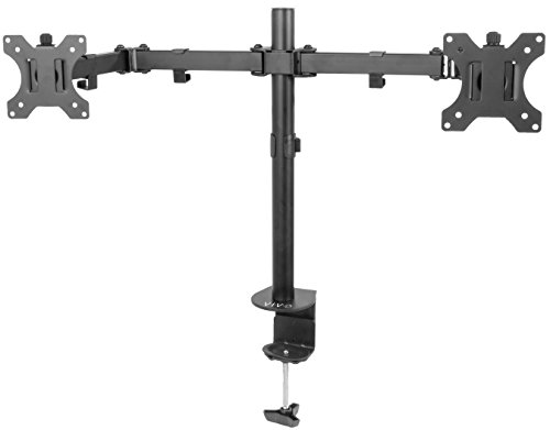 l Monitor Desk Mount VESA Stand with Articulating Double Center Arm Joint | Holds Two 13