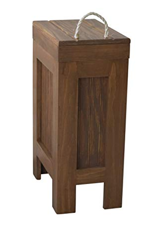 Rustic Wood Trash Bin, Kitchen Trash Can, Wood Trash Can, Dog Food Storage, 13 Gallon, Recycle Bin, Colonial Pine Stain with Rope Handle - Handmade in USA by BuffaloWoodshop (Pine Stain Colonial)