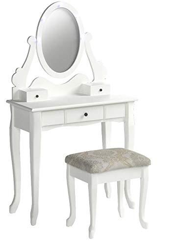 3-Piece Wood Make-Up LED Light Mirror Vanity Dresser Table and Stool Set, White - bedroomdesign.us