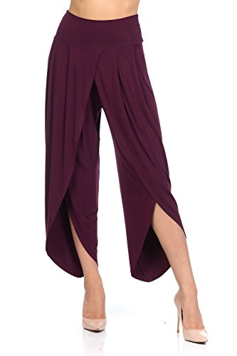 Ladybug Women's Layered Wide Leg Flowy Cropped Palazzo Pants, 3/4 Length High Waist Palazzo Wide Legs Capri Pants (Medium, -