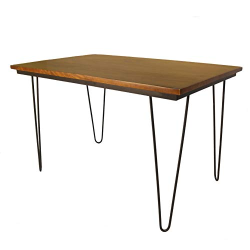 Carolina Cottage Elin 30 x 48 Bent Iron Leg Elm and Black Dining Table