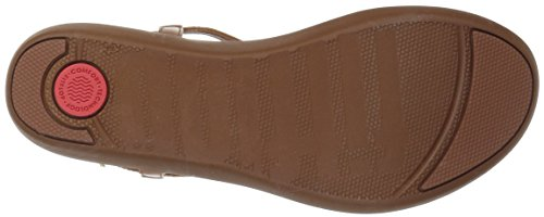 Fitflop Tia Toe-Thong Sandals-Leather, Sandalias con Punta Abierta Para Mujer Brown (Caramel 098)
