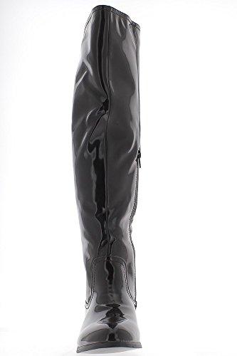 Overknee Stiefel braun Frau gefüllt mit 3,5 cm lackiert aussehen Ferse
