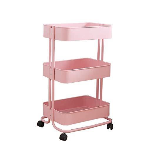 Jcnfa-Shelves Trolley Bookshelf 3-Layer Shelf Kitchen Storage Rack Movable Pulley Finishing Storage Shelves Beauty Salon Trolley (Color : Pink, Size : ()