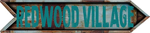 """Any and All Graphics Redwood Village 8"""" Arrow Shaped Rustic Antique Vintage City Name Vinyl Decal Sticker"""
