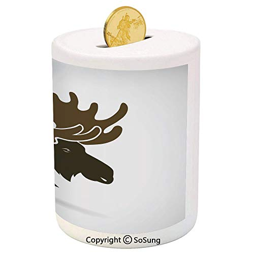 (SoSung Moose Decor Ceramic Piggy Bank,Deer Head Canadian Northern Wilderness Mammals Hunting Graphic Print 3D Printed Ceramic Coin Bank Money Box for Kids & Adults,Brown White)
