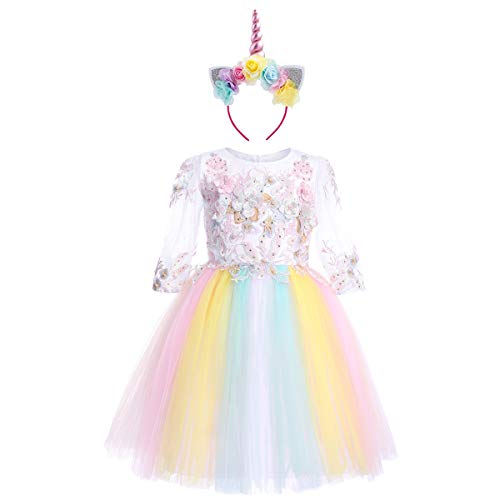 (Flower Girls Costume Cosplay Dress Up Rainbow Tulle 3D Embroidery Beading 3/4 Sleeve Princess Birthday Outfit Wedding Party Dresses A Line Pageant Formal Dance Evening Gown White 13-14 Years)