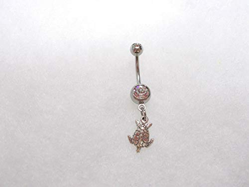 New 925 Sterling Silver Honu SEA Turtle Charm 14g Clear Belly Ring Barbell KEZ-2100