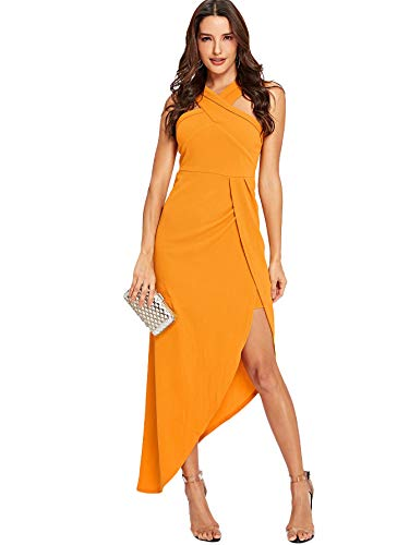 MAKEMECHIC Women's Sleeveless Split Ruched Halter Party Cocktail Long Dress Yellow M