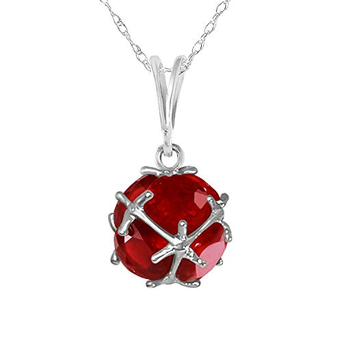 Galaxy Gold 14K Solid White Gold Necklace with 4.90 Carat Natural Rubies - Size 20