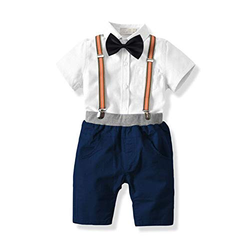 Shirt Pants Bib (KiKibaby Baby Boys Gentleman Outfits Suits, Infant Short Sleeve Shirt+Bib Pants+Bow Tie Overalls Clothes Set)