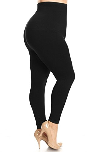 Yelete Legwear High Waist Compression Leggings With French Terry Lining, Plus Size, Black