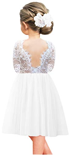 White Cotton Flower Girl Dresses (2Bunnies Girl Rose Lace Back A-Line Straight Tutu Tulle Party Flower Girl Dresses (White Long Sleeve Knee, 12)