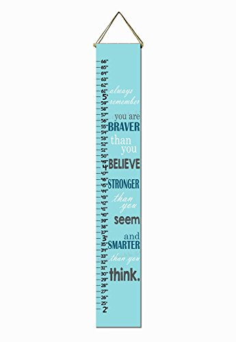 (Christopher Robin Quote Aqua Canvas Growth Chart)