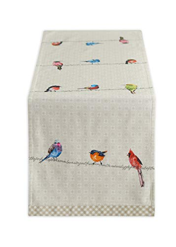 Maison d' Hermine Birdies On Wire 100% Cotton Table Runner 14.5 Inch by 108 Inch