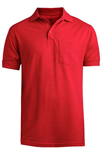 (Edwards Blended Pique Short Sleeve Polo with Pocket Large Red)