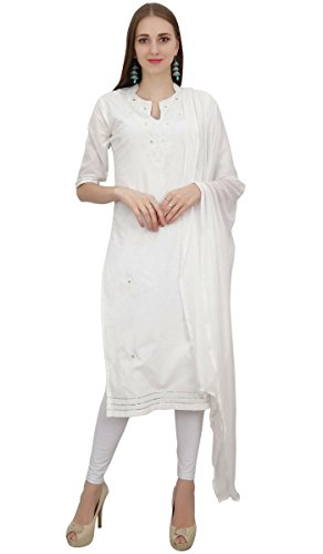 Atasi Readymade White Salwar Pants Embroidered Cotton Salwar Kameez Suit Indian Dress - 4