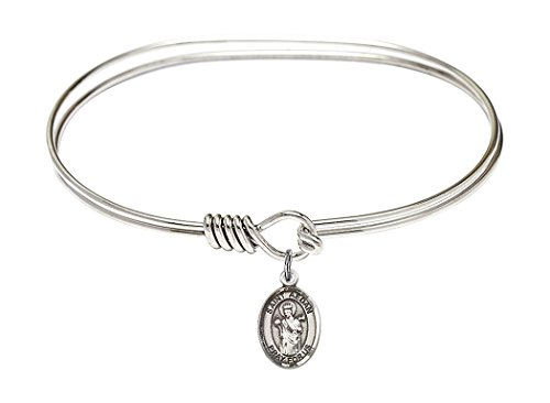 - Rhodium Plate Oval Eye Hook Twist Bangle Bracelet with Saint Aedan of Ferns Petite Charm, 7 Inch