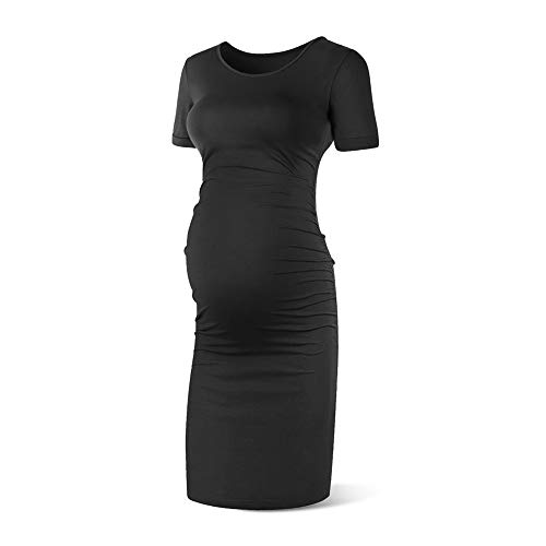 Rnxrbb Women Short Sleeve Maternity Dress Summer Pregnancy Clothes Ruched Side Dresses Scoop Neck,Black-L