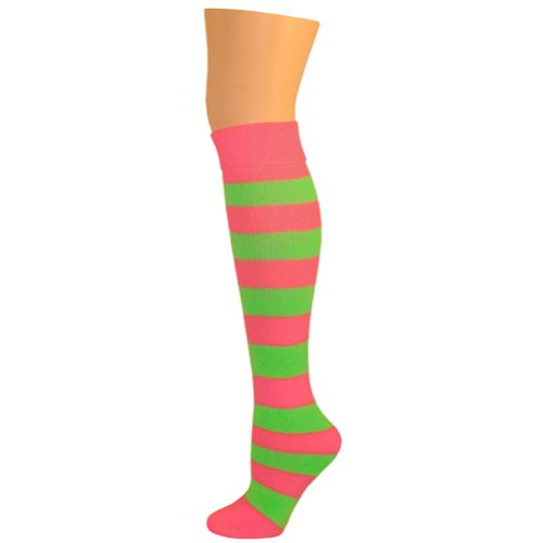 Kids Striped Knee Socks - Hot Pink/Lime Green