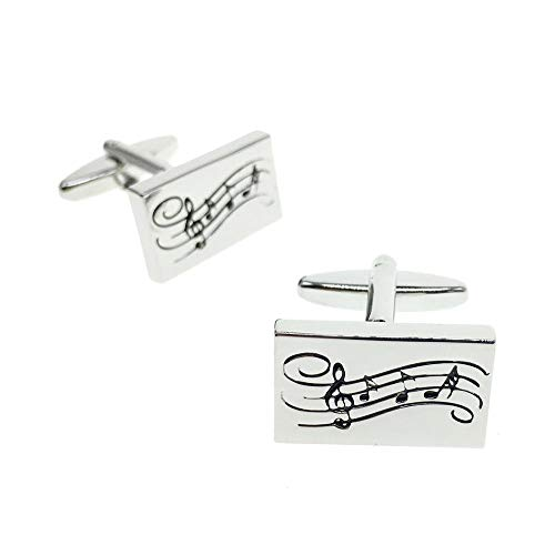 Cuff-Arts Cufflinks for Men Rectangular Music Notes Cufflinks with a Gift Box C10126