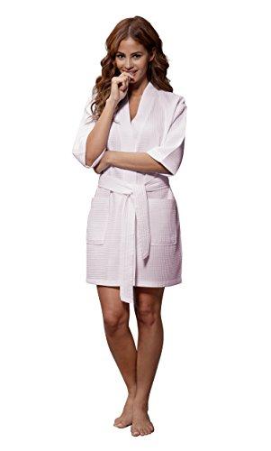 Turquaz Linen Lightweight Knee Length Waffle Kimono Bridesmaids Spa Robe (XX-Large, Light Pink) ()