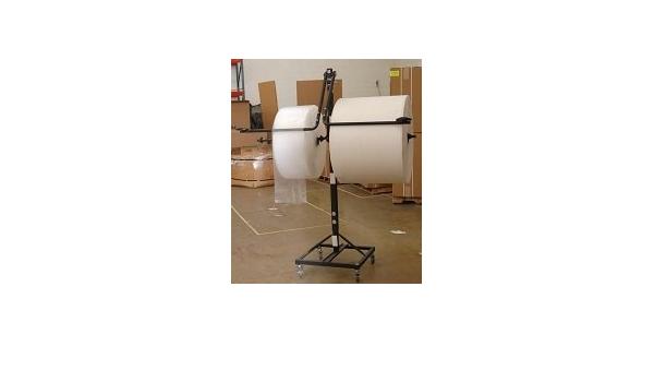 24 Telescoping Single Arm Bubble Cushioning Wrap /& Foam Roll Floor Unit Dispenser w//Casters /& Tear Tag