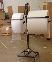 36'' Telescoping Double Arm Bubble Wrap® & Foam Roll Floor Unit Dispenser w/ Casters & Slide Cutter by FastPack Packaging