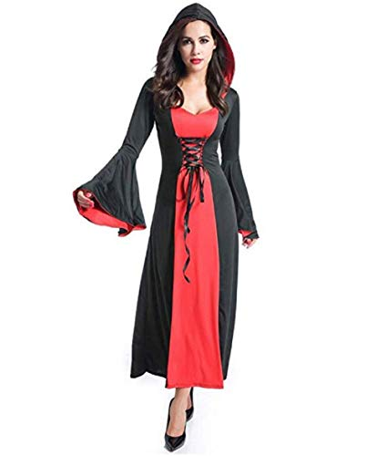 Peachi Women Long Halloween Cape, Vampire Witch Cosplay Hooded Robe Cloak Long Fancy Dress Performance -