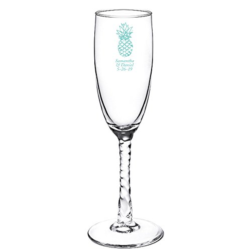 Personalized Color Printed Twisted Stem Champagne Flute - Pineapple - Robins Egg Blue - 144 pack (Stem Flute Twisted)