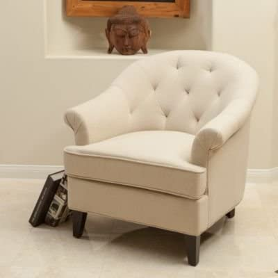 Christopher Knight Home 295395 Silvan Arm Chair, Beige Linen Herringbone
