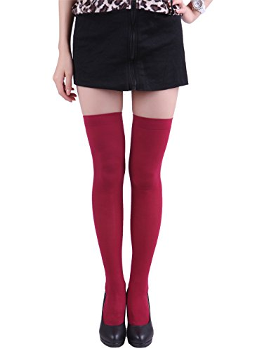 HDE Women's Thigh High Stockings Opaque Tights Over the Knee Nylon Socks (Wine Red, One Size Plus) (Red Opaque Thigh High Stockings)