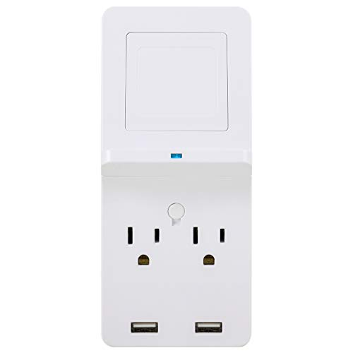GE Surge Protector Tap with Wireless Charging, 2 Outlets, 2 USB, Qi Pad, Charging Shelf, 560 Joules, White, 43645