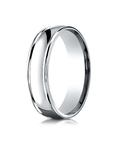 10k White Gold 6mm Comfort-Fit high polish finish round edge Design Wedding Band Ring for Men & Women Size 4 to 15