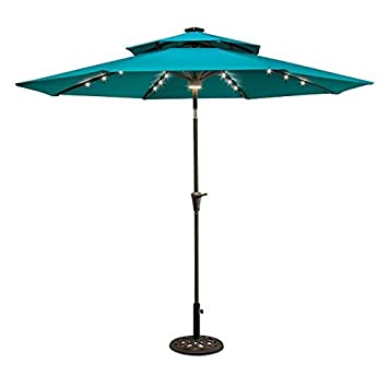 Amazon 9 Double Top Solar Lighted Umbrella LAKE BLUE Garden Outdoor