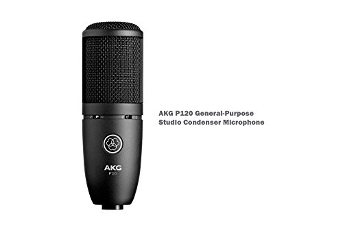 AKG Bundle Package - AKG P120 + AKG K171 MKII + Tascam US-2x2 + Microphone Stand + 4 XLR Mircrophone Cables - For Home/Studio Precision Listening, Recording, Monitoring, Studio and Live Sound, Mixing and Mastering