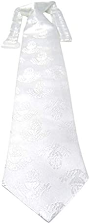 White First Communion Tie with IHS Chalice Design, 13 1/2 Inch
