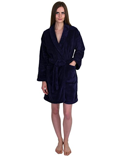 TowelSelections Women's Robe, Plush Fleece Short Spa Bathrobe Small - Men Petite