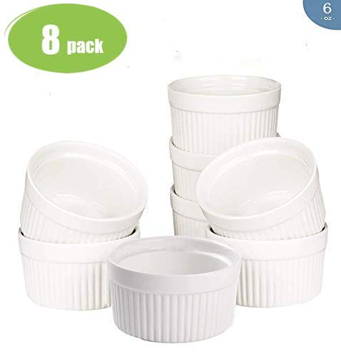 - Accguan Set of 8 PCS 6 oz Round Porcelain Oven Safe Ramekin Dessert Souffle Baking Dish(3.5 INCHES) (White)