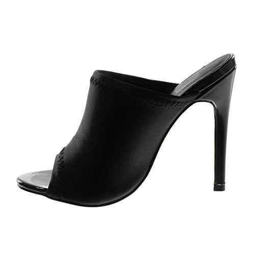 Angkorly Damen Schuhe Mule Pumpe - Slip-On - Stiletto - Peep-Toe - Fertig Steppnähte Stiletto High Heel 12 cm Schwarz