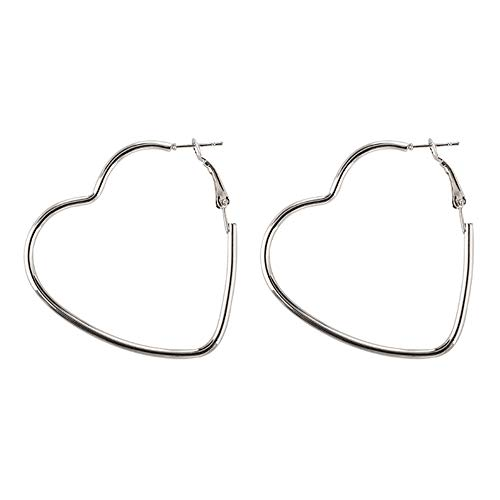 - Geometric Dangle Earrings Drop Heart Round Hoops Ear Studs Cuffs Pin Circles Dangling Earrings Women Girls Birthday Gift Piercing Minimalist Charms Jewelry Heart Silver Plated