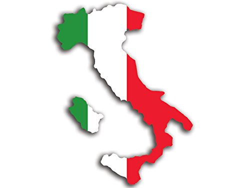 Italy Shaped Italian Flag Sticker (italia rome sicily pasta pizza) - Italy Love Italian