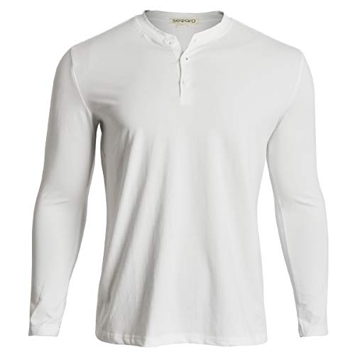 Baseball White Undershirt (Men Casual T Shirts V-Neck Slim Fit Henley 3 Button Fashion Cotton Solid Big Tall Loose Work Long Sleeve(Long White, L))