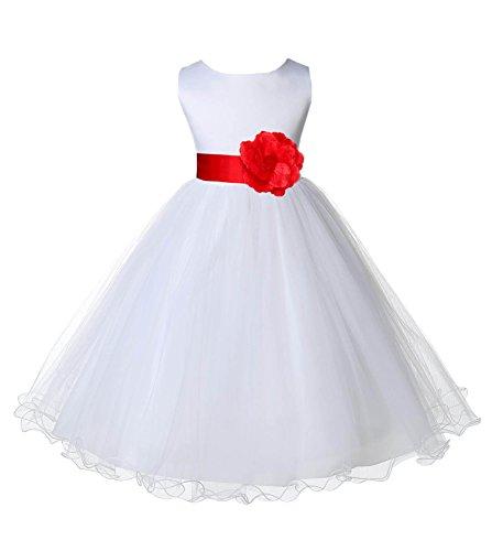 Wedding Pageant White Flower Girl Rattail Edge Tulle Dress 829s -