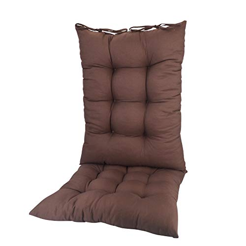 ELFJOY Solid Color Cozy Sanding Fabric Rocking Chair Cushions -Rocker Chair Pad Set Brown