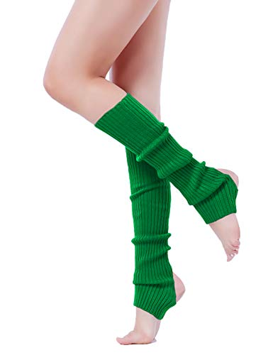 V28 Women Winter 80s Eighty's Warm Leg Warmers Marathon Costume Knit Long Socks (Uphole-Sante Green)