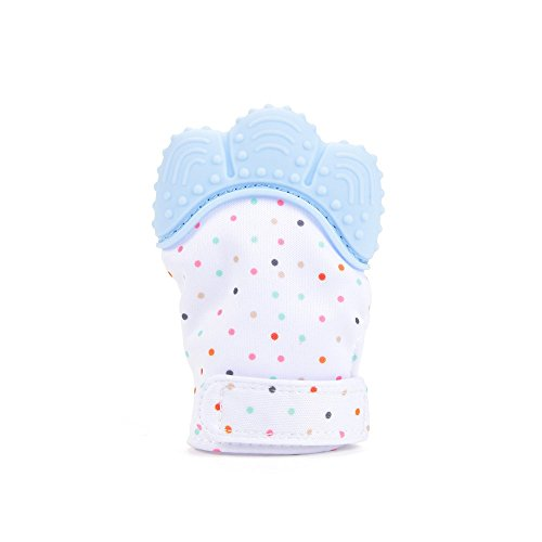Baby Teething Mitten, Mami&babi Teether for Baby Self-soothing Pain Relief, BPA Free & Food Grade Teething Glove (Blue)